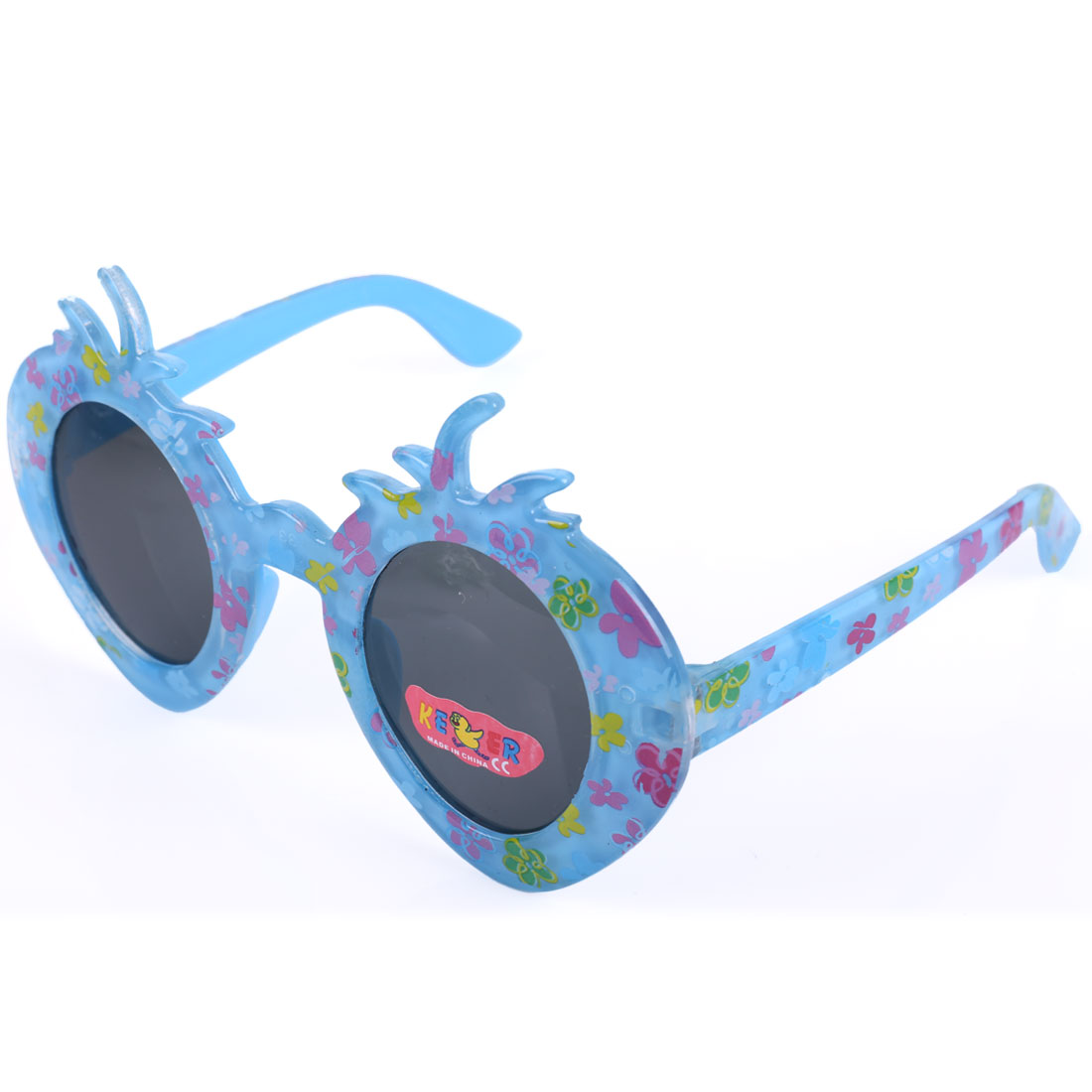 Children Kids Blue Plastic Flowers Print Strawberry Style Sunglasses Decoration