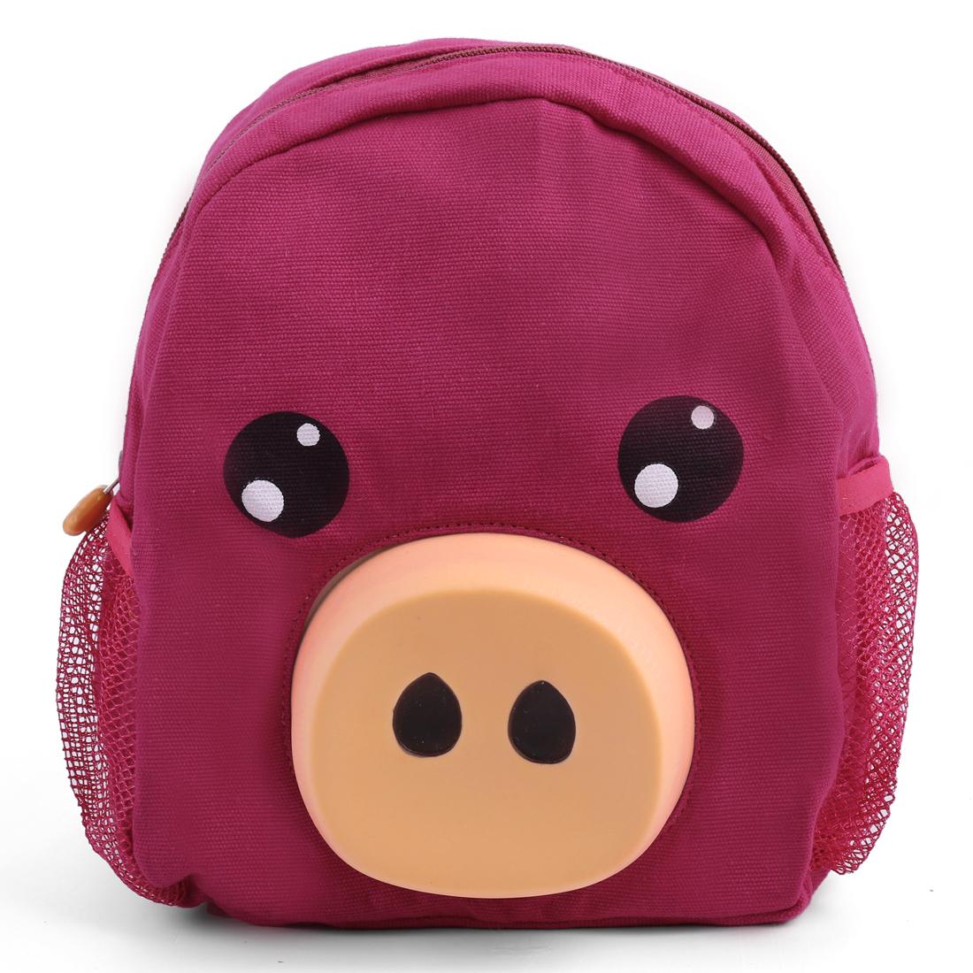 Kids Padded Straps Cartoon Pig Detail Stylish Backpacks Purple