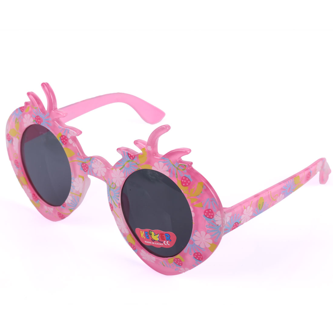 Children Kids Plastic Flowers Print Strawberry Style Sunglasses Pink