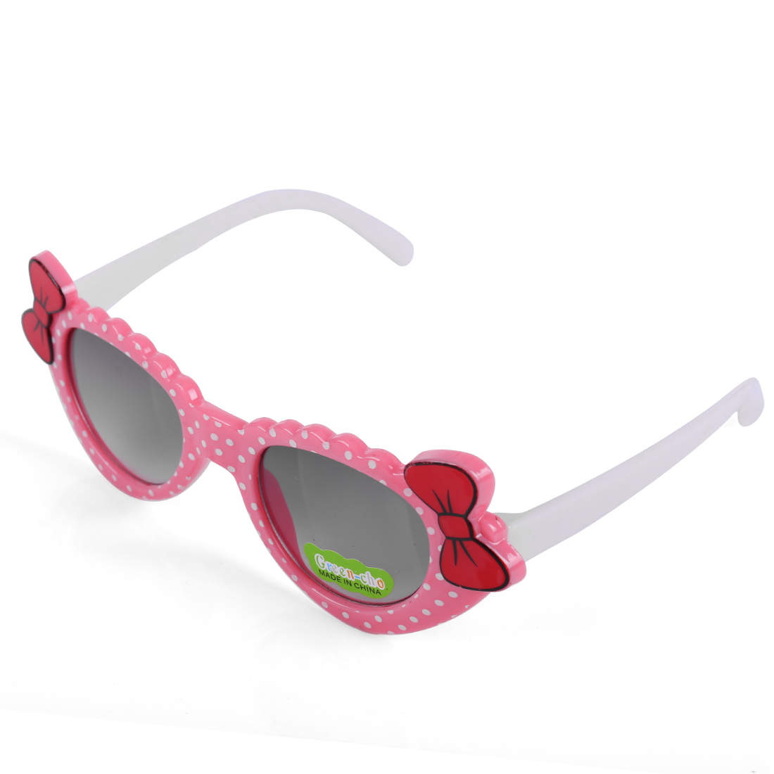 Girls Dots Prints Color Block Plastic Sunglasses Pink White