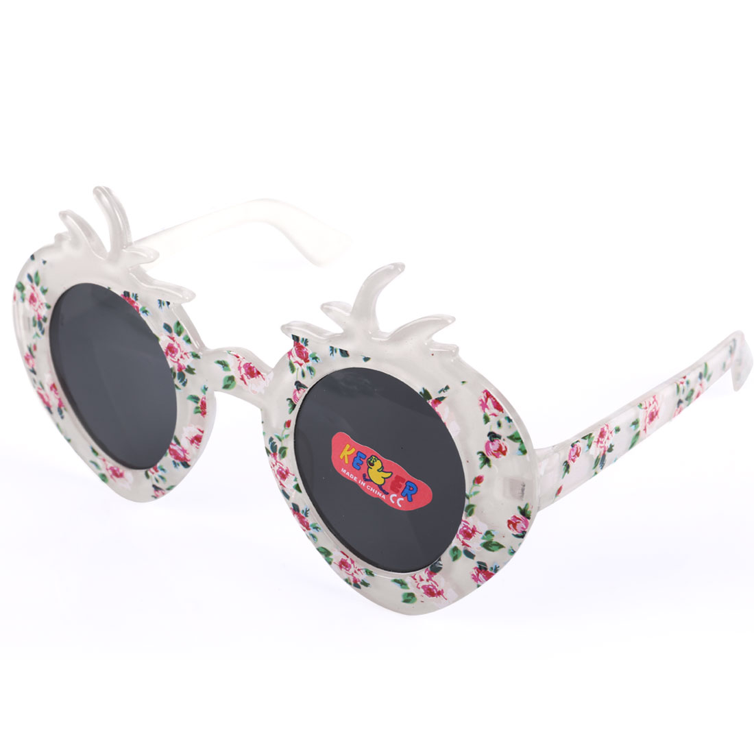 Boys Girl White Plastic Full Rim Black Lens Strawberry Shape Sunglasses
