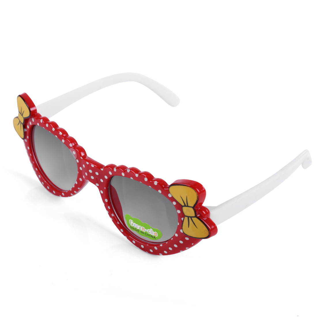 Girls Cute Bow Detail Contrast Color Plastic Sunglasses Red White