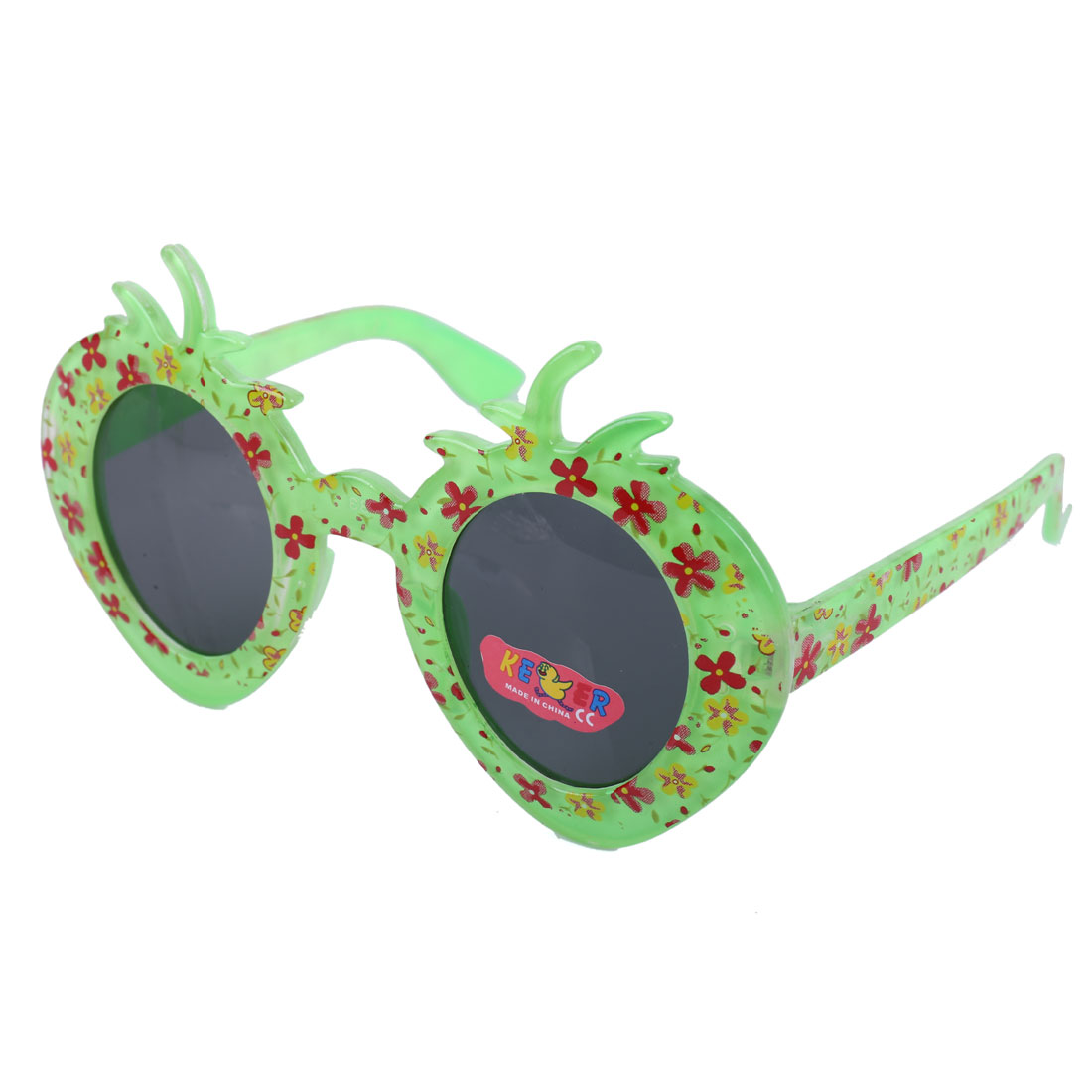 Boys Girl Green Plastic Full Rim Flower Print Strawberry Style Sunglasses