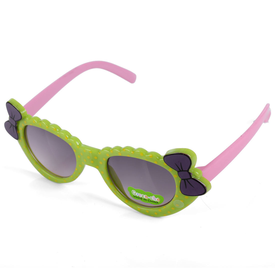 Girls Color Blocking Bow Detail Dots Sunglasses Light Green Pink