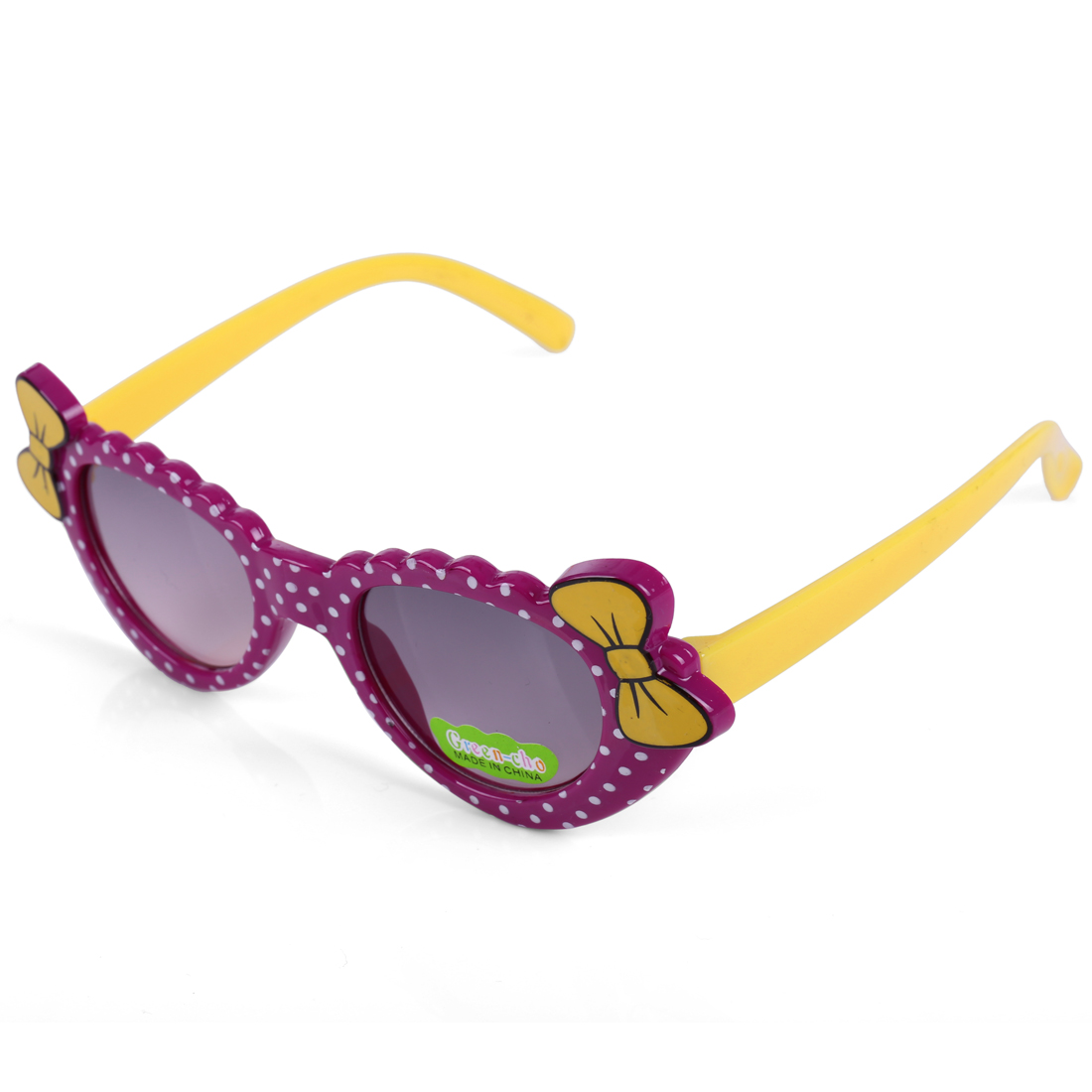 Girls Chic Bow Embellished Dots Prints Sunglasses Purple Yellow