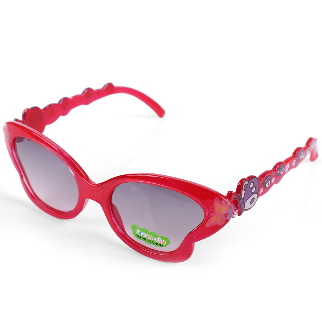 Children Kids Plastic Black Lens Full Rim Butterfly Detail Sunglasses Red