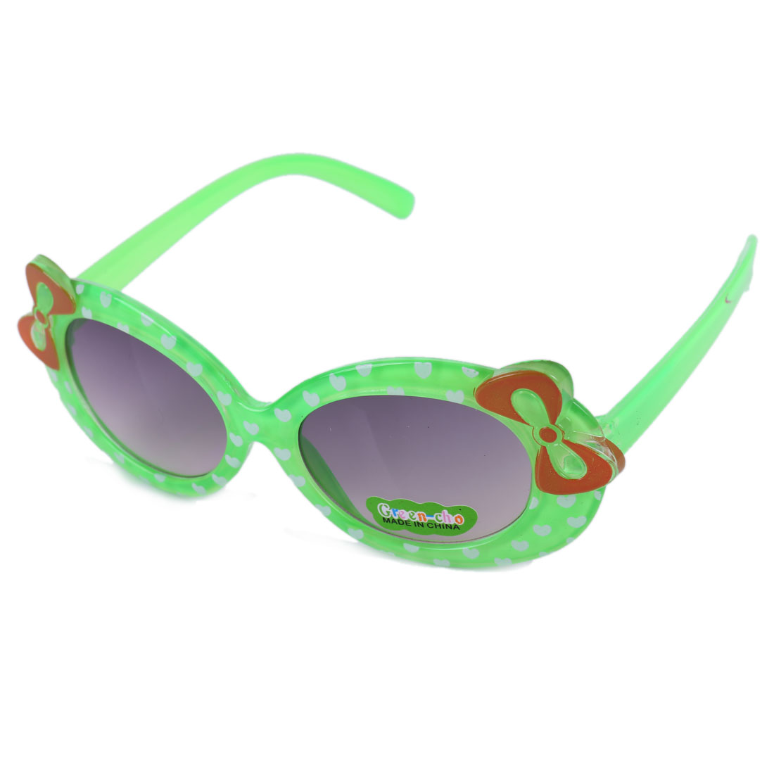 Girls Chic Bowknot Decor Heart Prints Sunglasses Green