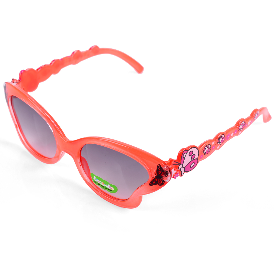 Children Kids Plastic Full Rim Butterfly Shape Eyewear Sunglasses Orange