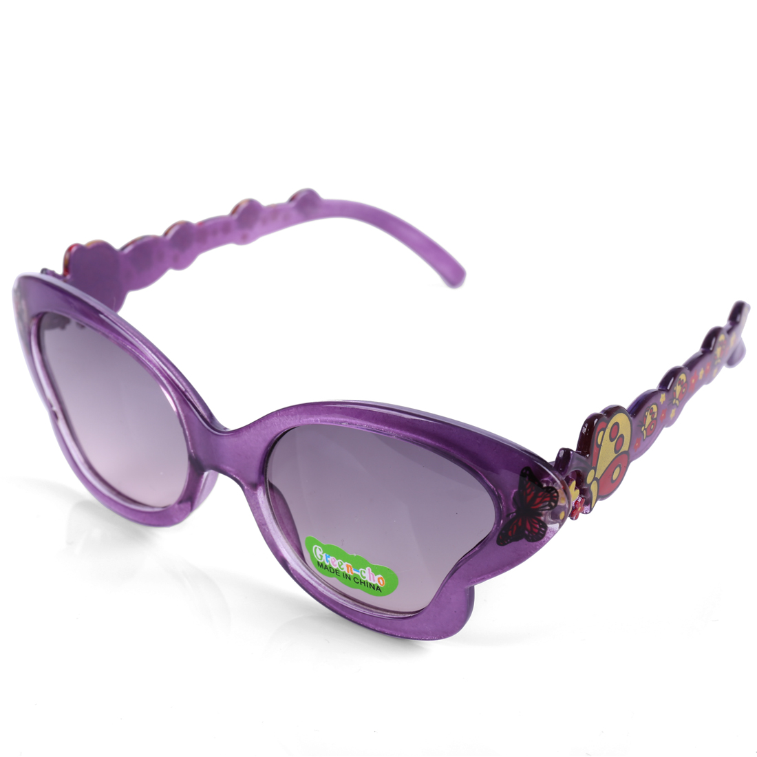 Boys Girls Plastic Full Rim Butterfly Print Arm Detail Sunglasses Purple