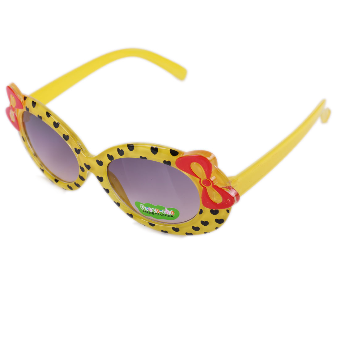 Fashion Girls Sweet Bowk Embellished Plastic Sunglasses Yellow