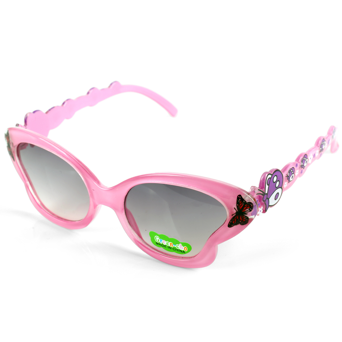 Children Kids Pink Plastic Full Rim Butterfly Shape Decor Eyewear Sunglasses