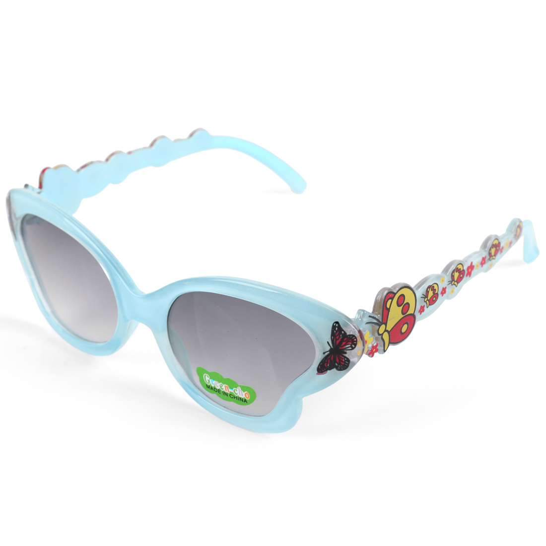 Boys Girls Light Blue Plastic Full Rim Butterfly Style Sunglasses