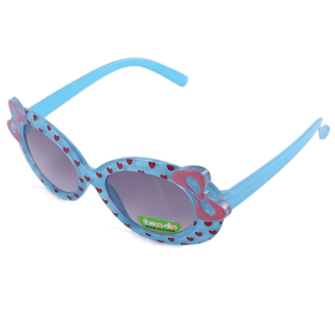 Girls Chic Bowknot Style Plastic Sunglasses Light Blue