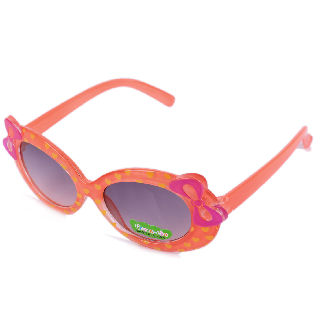 NEWS Sweet Bowknot Heart Prints Plastic Sunglasses for Girls Coral