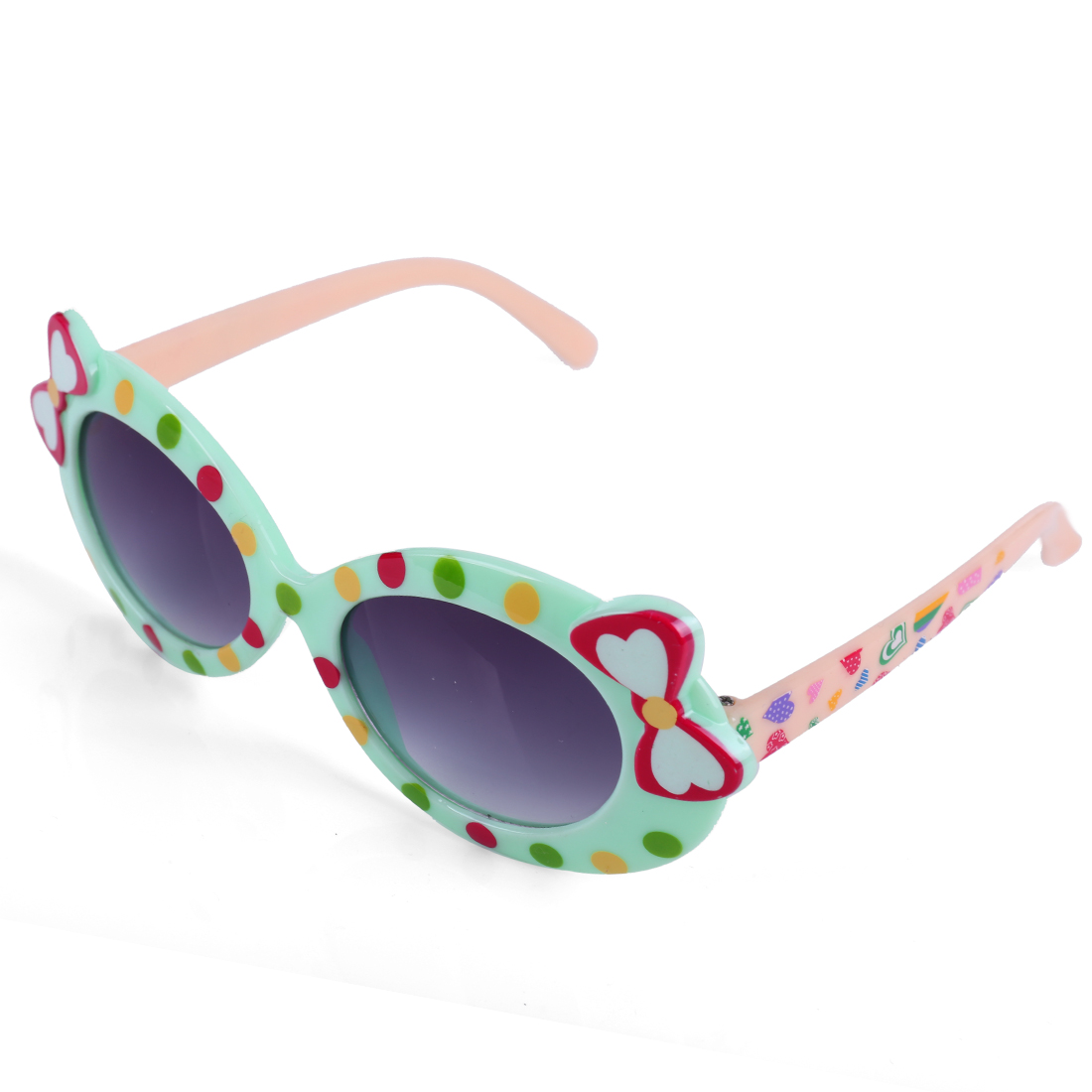 Girls Cute Bow Pattern Patchwork Sunglasses Light Green Cream