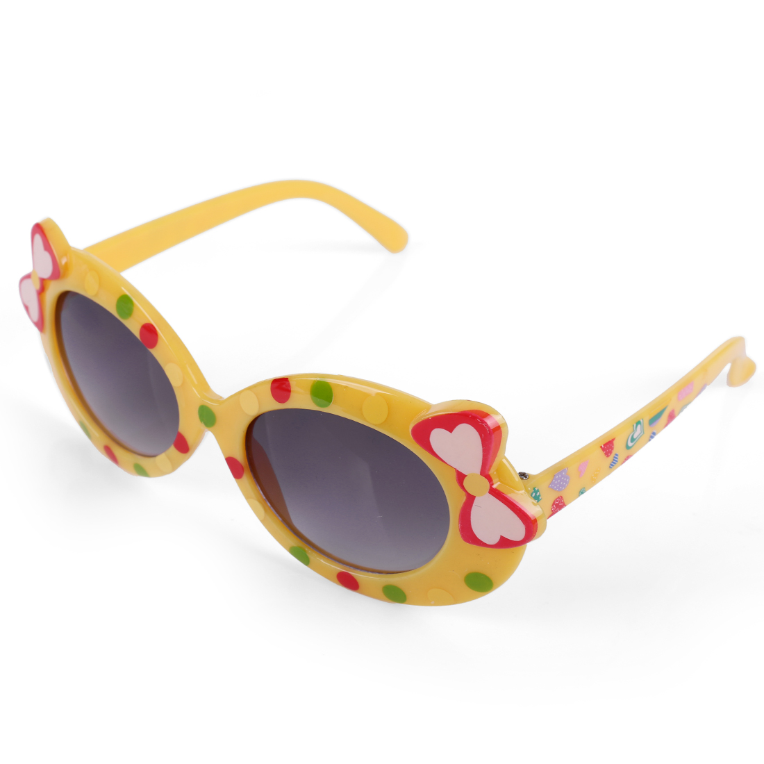 Girls Panel Heart Prints Adorable Sunglasses Yellow