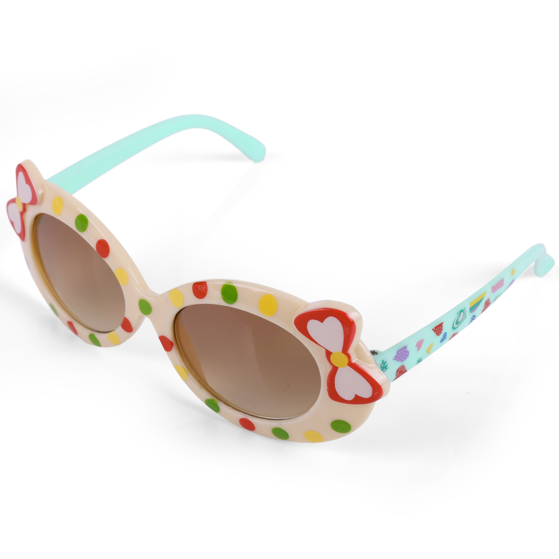 Girls Bow Embellished Contrast Color Sunglasses Cream Light Green