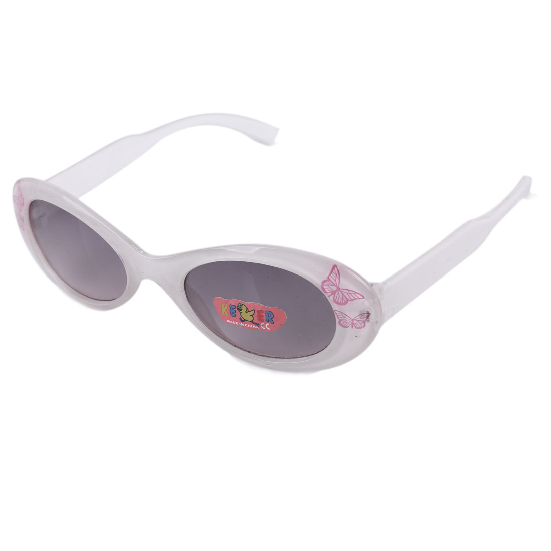 Children Kids Plastic Black Lens Full Rim Butterfly Print Sunglasses White