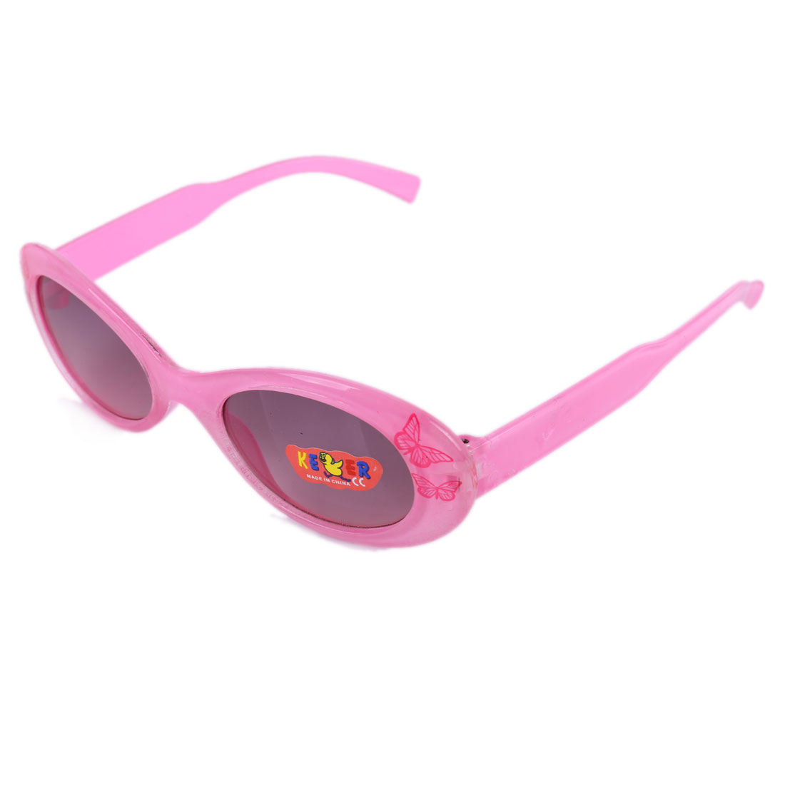 Boys Girls Plastic Full Rim Black Lens Butterfly Print Sunglasses Pink