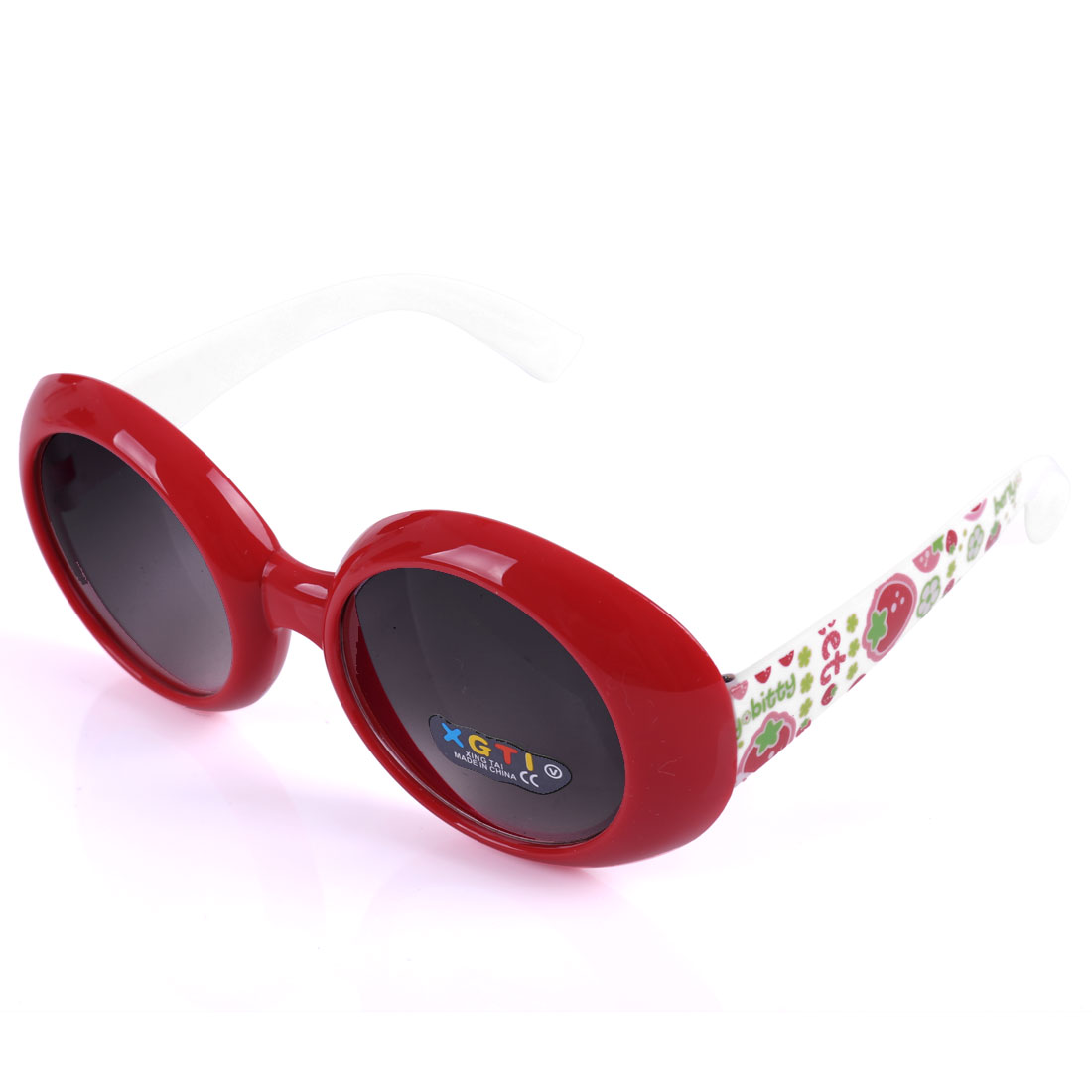 Children Plastic Full Frame Single Bridge Sunglasses Red White