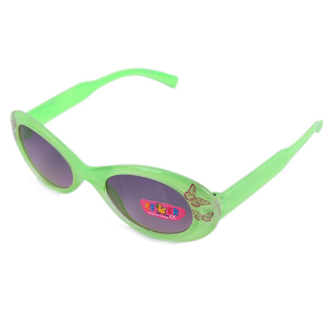 Boys Girls Green Plastic Full Rim Black Lens Butterfly Print Sunglasses