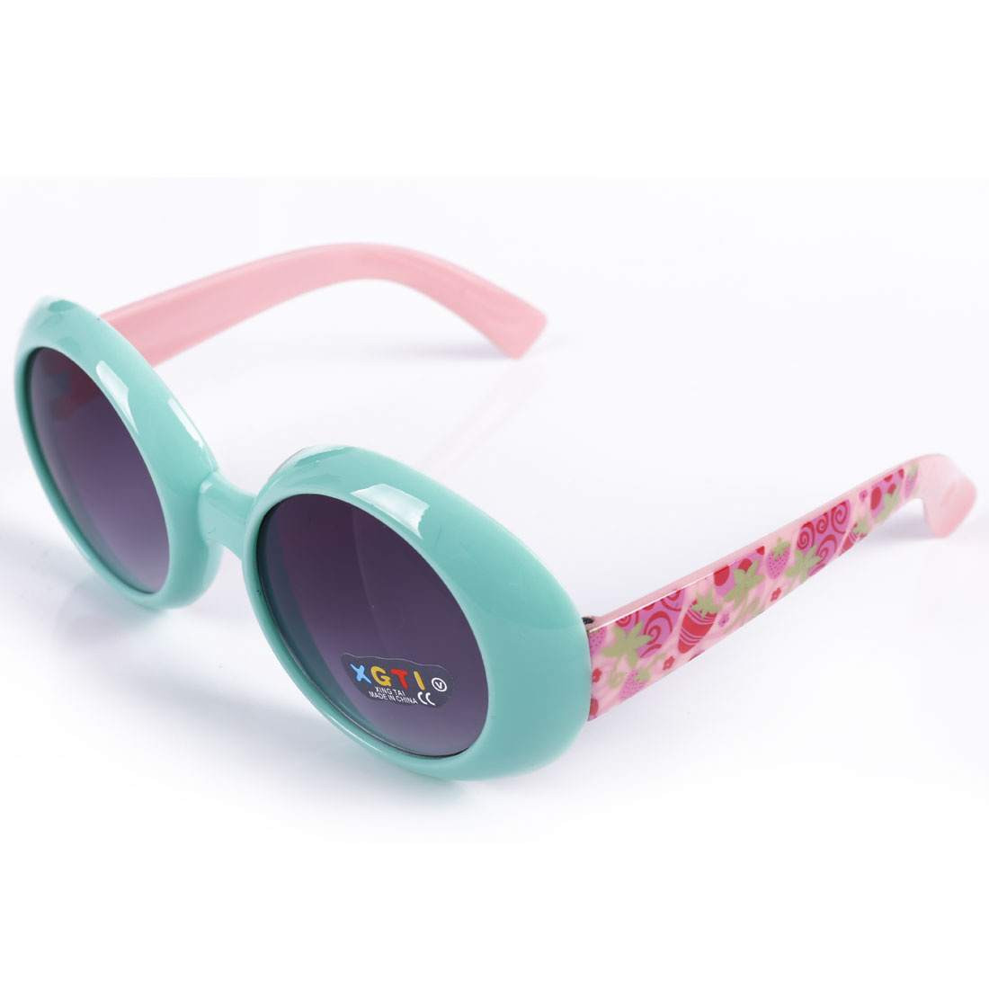 Children Plastic Round Shaped Lens Full Frame Sunglasses Green Pink