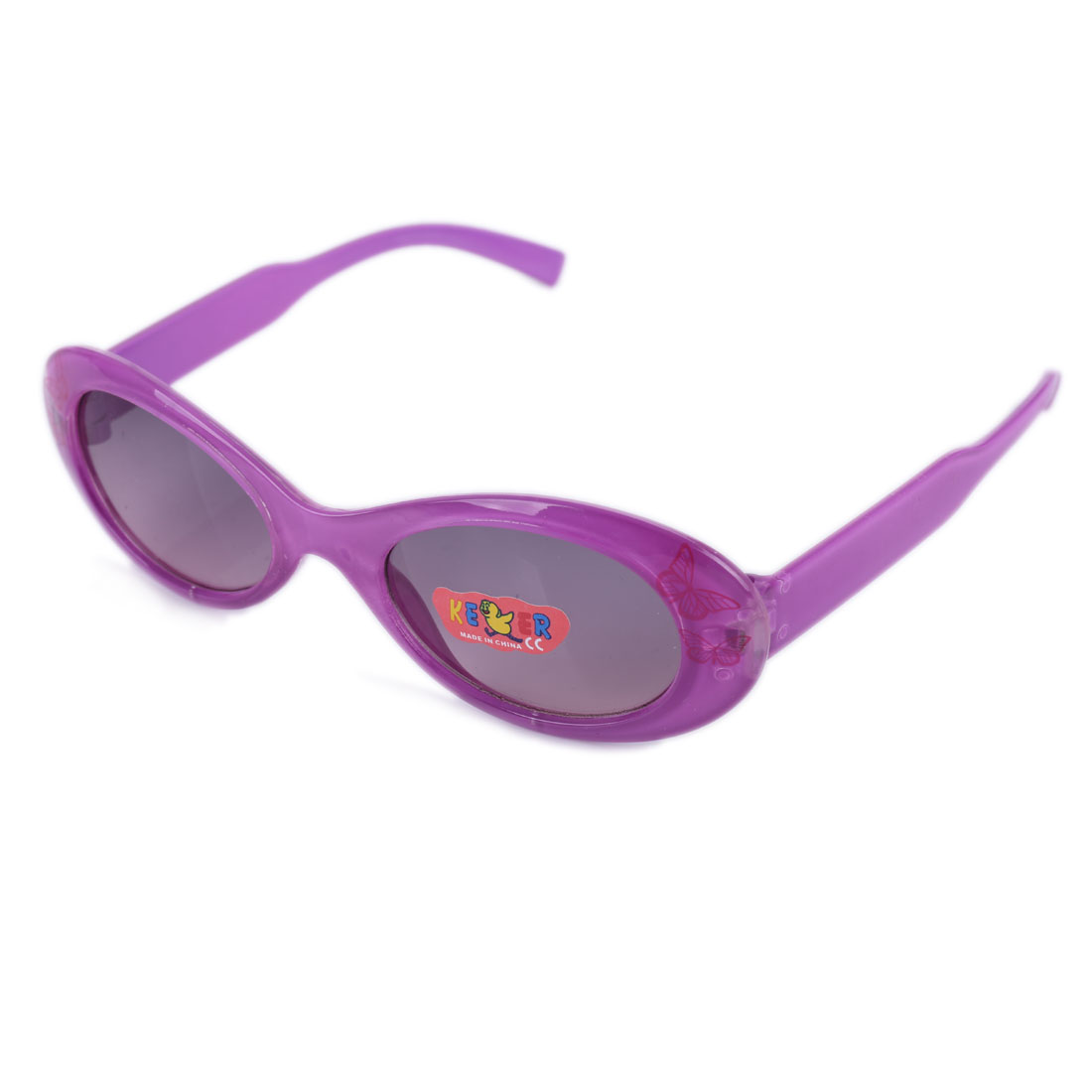 Boys Girls Plastic Full Rim Black Lens Butterfly Print Sunglasses Purple