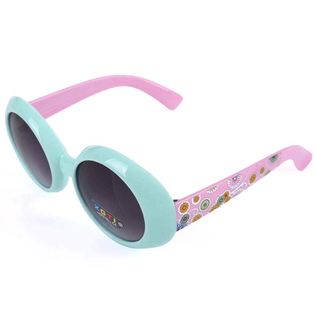 Children Plastic Full Frame Single Bridge Sunglasses Cyan Mauvelous