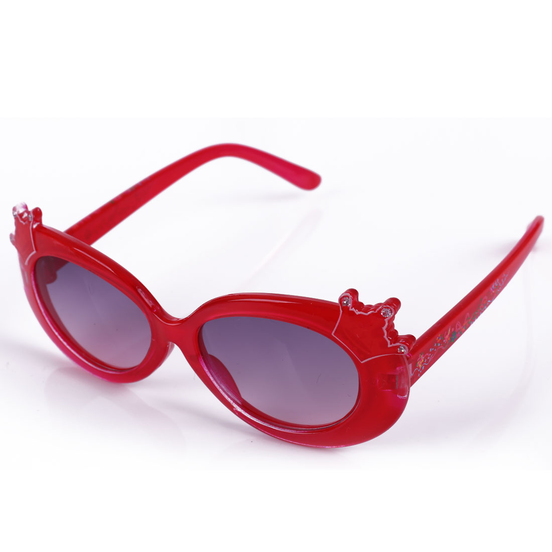 Boys Girls Plastic Full Rim Black Lens Crown Decor Sunglasses Red