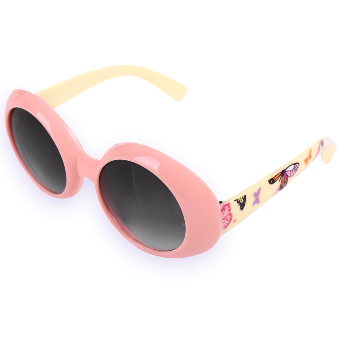 Children Plastic Full Frame Single Bridge Sunglasses Baby Pink Maize Color