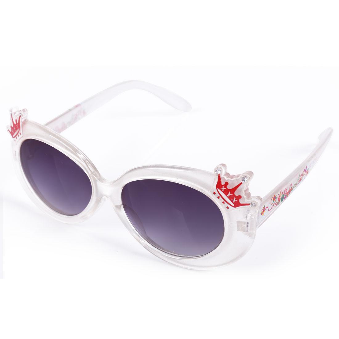 Children Kids Plastic Black Lens Full Rim Crown Decor Sunglasses White