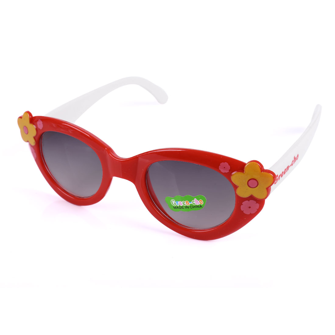 Girls Floral Prints Color Blocking Sweet Sunglasses Red White