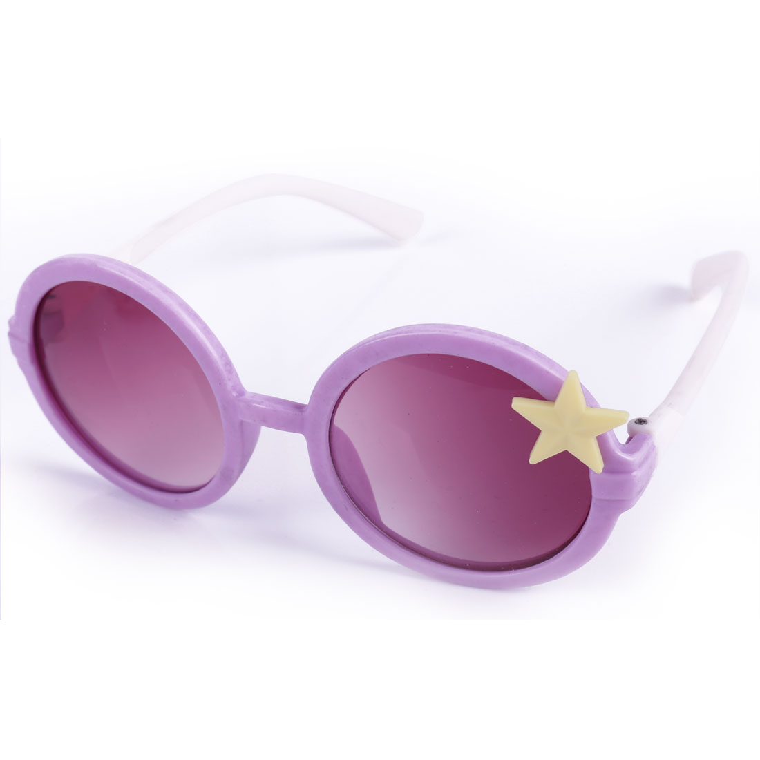 Children Kids Star Decor Plastic Full Rim Sunglasses Purple White