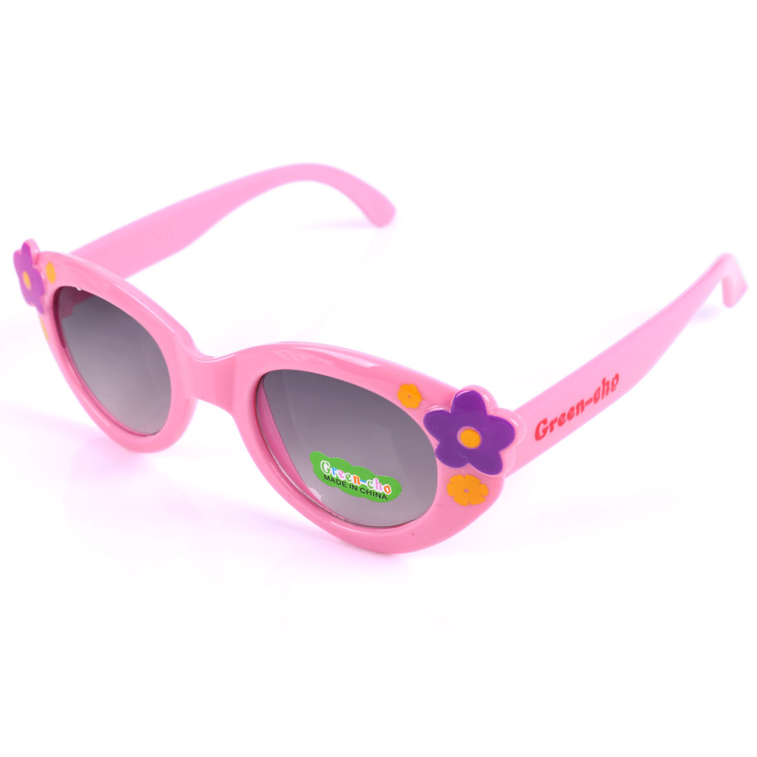 Girls Contrast Color Plastic Flower Sweet Sunglasses Pink