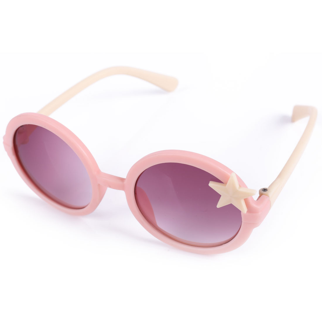 Boys Girls Pink Salmon Plastic Full Rim Star Decor Sunglasses