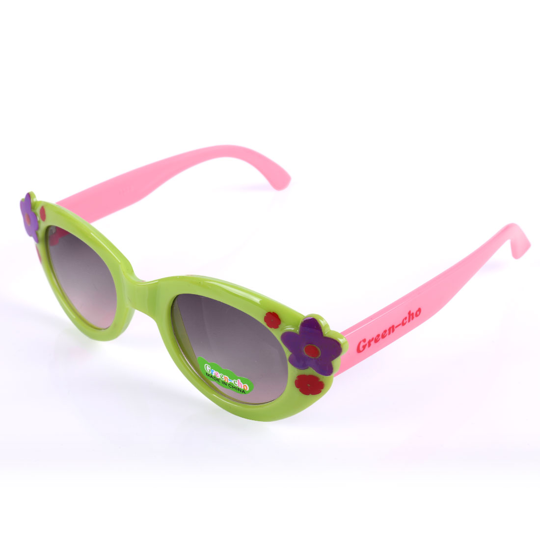 Girls Flower Style Color Block Sunglasses Light Green Pink