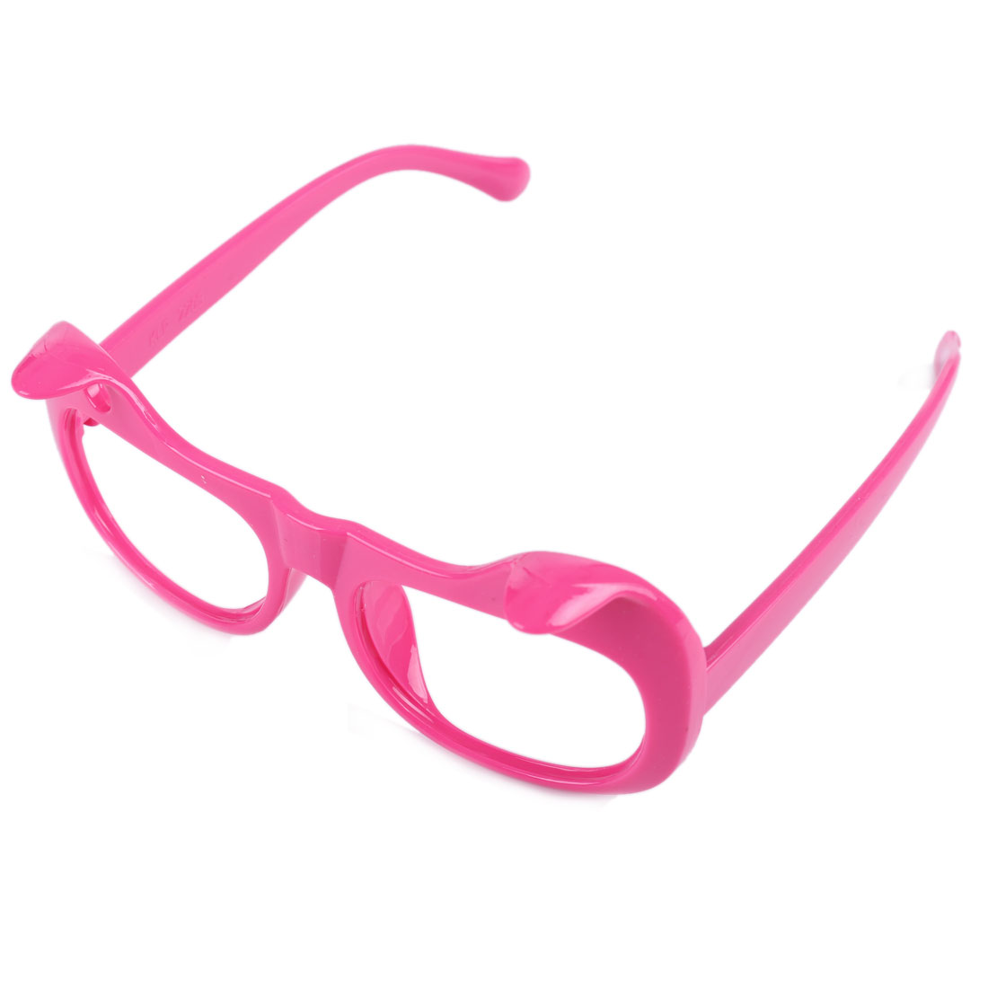 2 Pcs Children Kids Soild Color Plastic Full Rim Cat Ear Glasses Frame Rosy