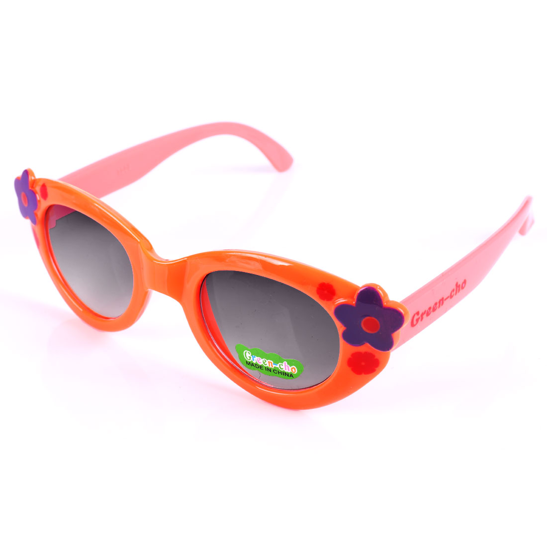 Fashion Girls Floral Pattern Color Blocking Sunglasses Coral Pink