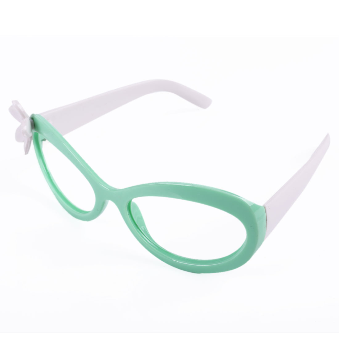 2 Pcs Children Flower Decor White Green No Lens Plastic Full Rim Glasses Frame