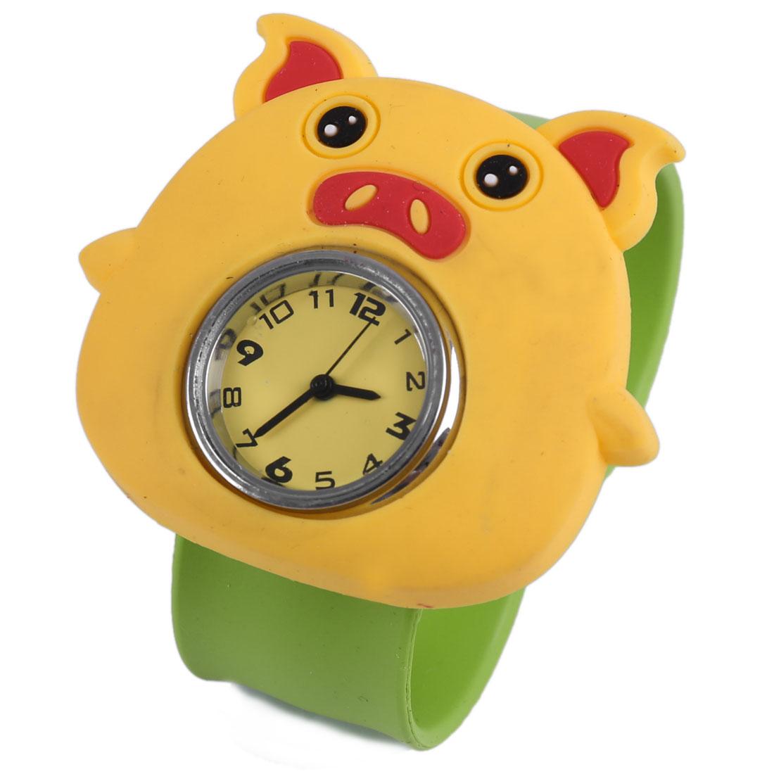 Children Lovely Pig Style Slip Cuff Wrist Watch Yellow Green