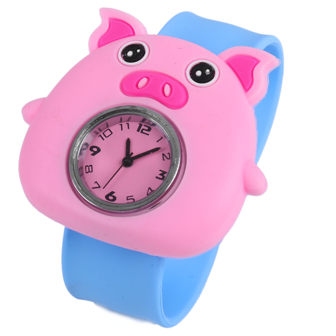 Fashion NEWS Kids Slap Cuff Animated Pig Wrist Watch Pink Blue