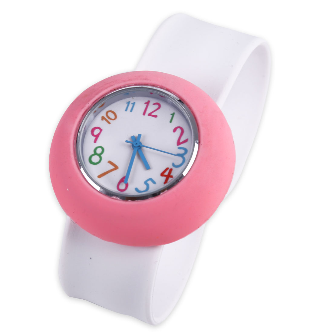 Fashion NEWS 3D Kids Round Style Analog Wrist Watch White Pink