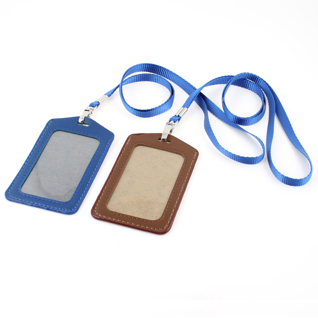 2pcs Faux Leather Wark Business ID Card Holder Royal Blue Brown w Neack Strap