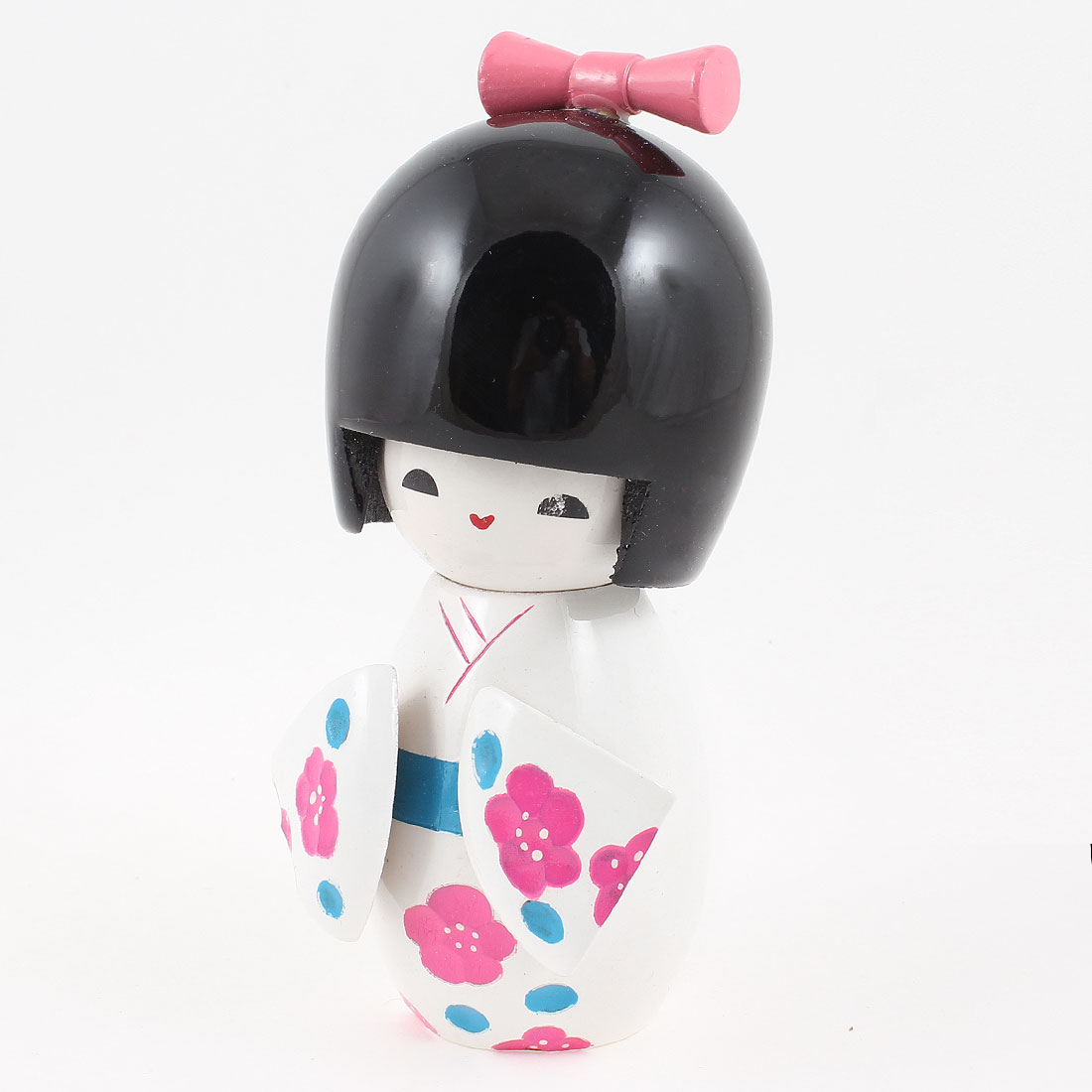 Fuchsia Flower White Japanese Kimono Kokeshi Wooden Doll Desk Decoration
