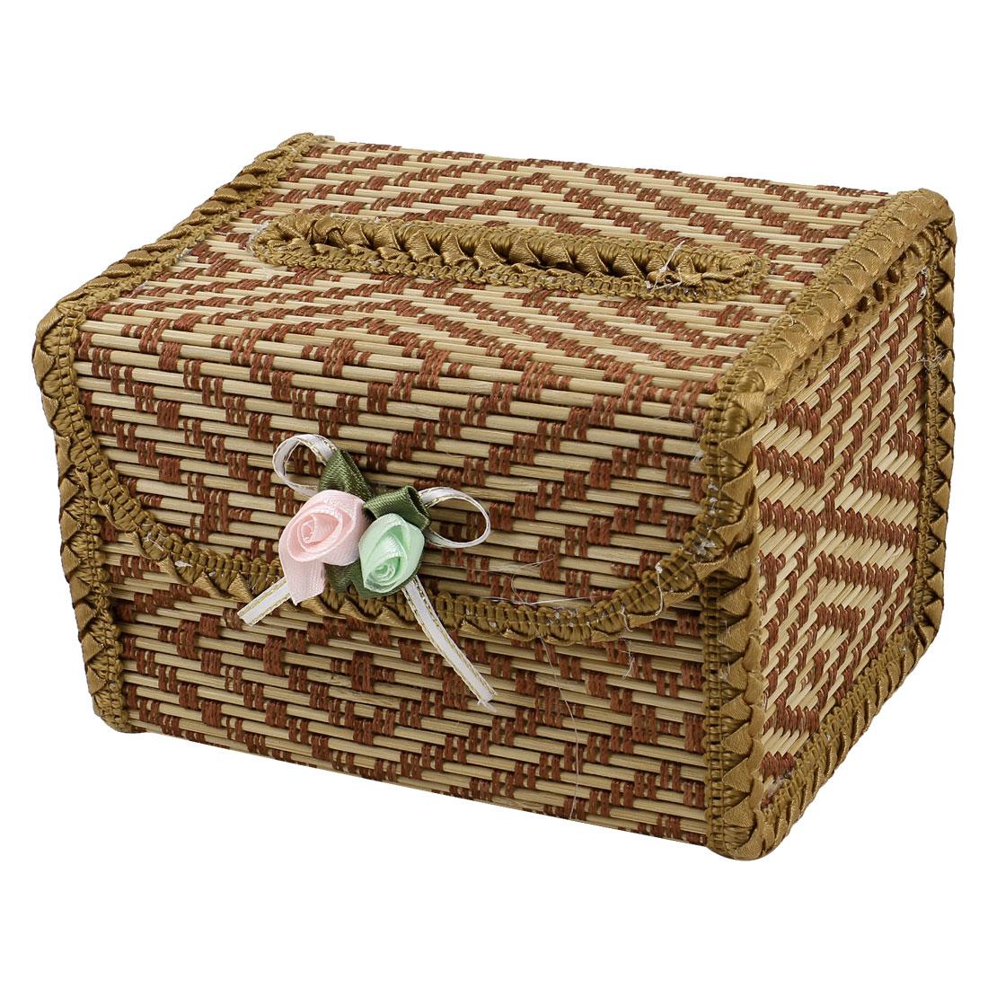 Auto Car Brown Natural Bamboo Handmade Tissue Box Cover Holder Box