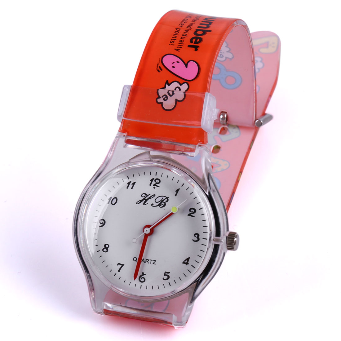 New Fashion Color Cartoon Numbers Pattern Adjustable Strap Red Watch for Kids