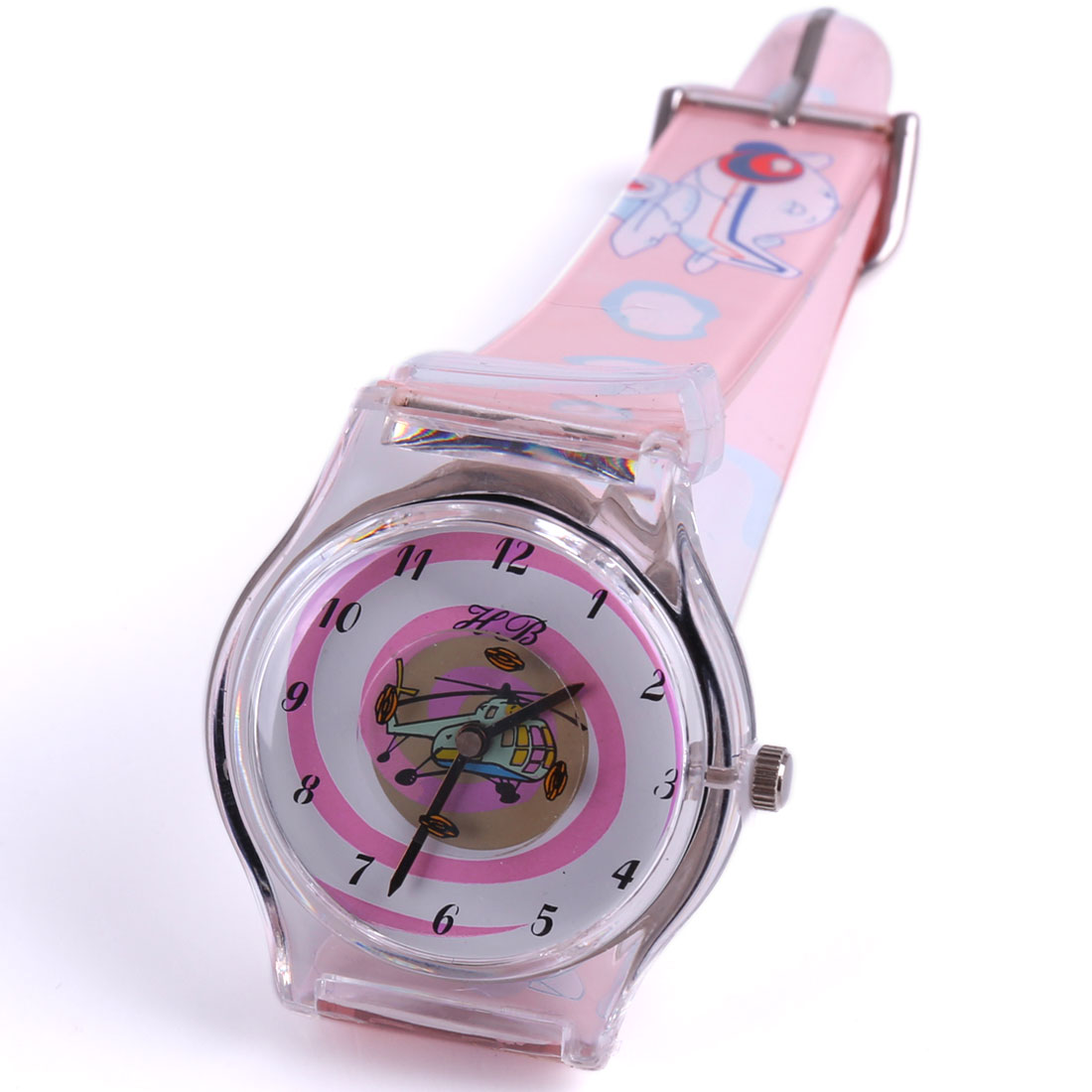 Lovely Boys Girls Cartoon Plane Pattern Plastic Strap Wrist Light Pink Watch