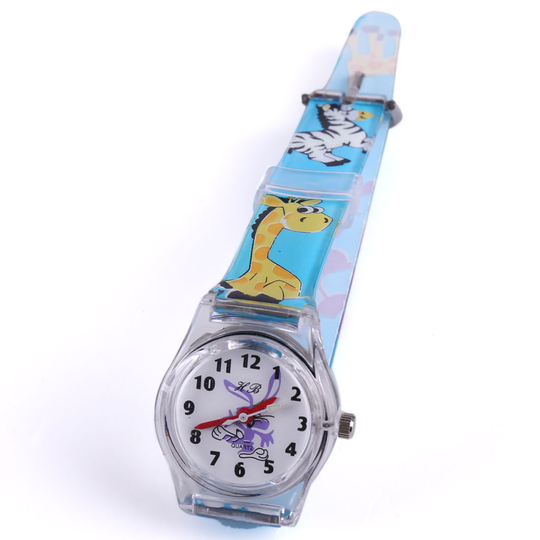 Boys Girls Lovely Cartoon Animal Pattern Plastic Strap Sky Blue Watch