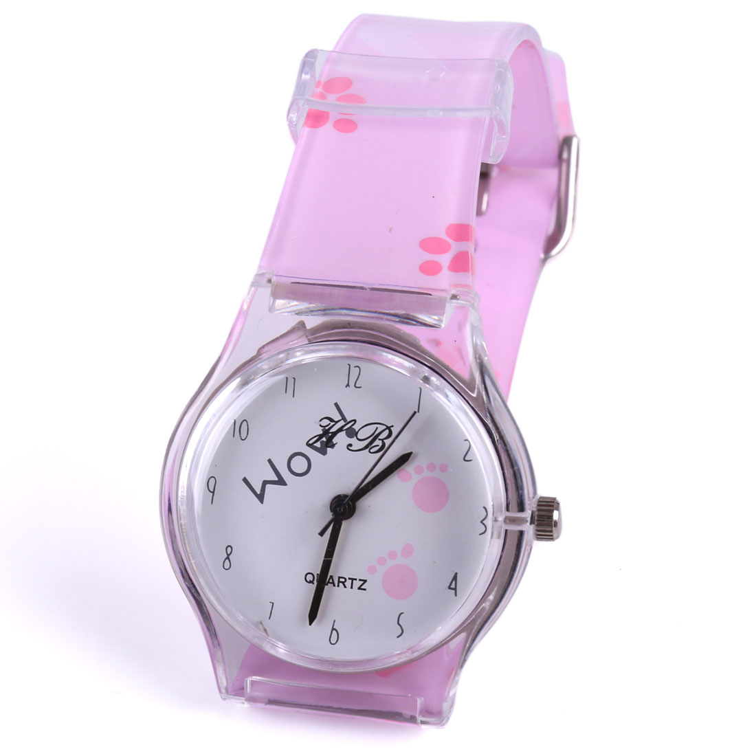 Children Lovely Footprints Pattern Design Adjustable Buckle Pink Wrist Watch