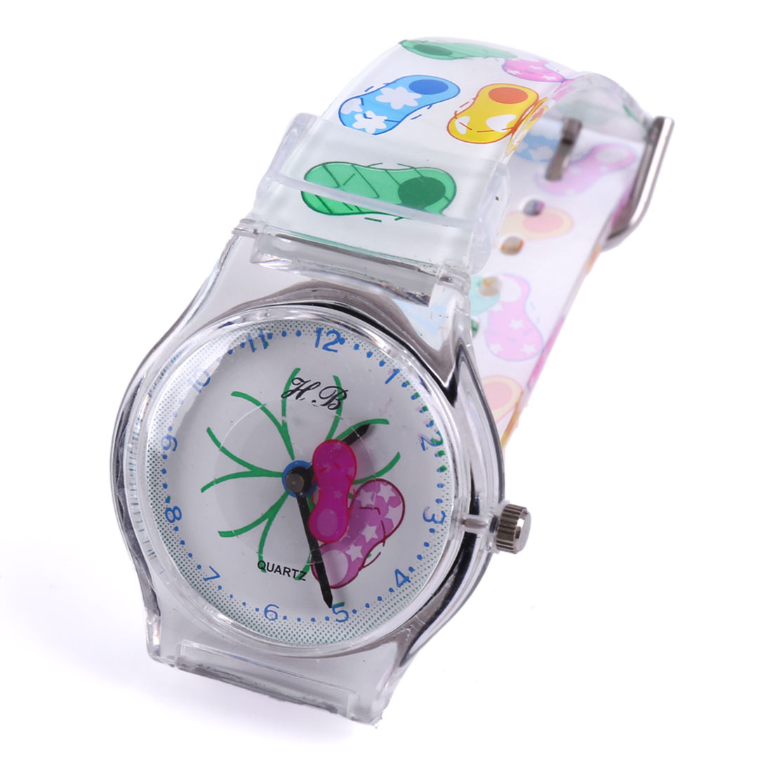 Boys Girls Lovely Color Shoes Pattern Plastic Adjustable Strap White Wrist Watch